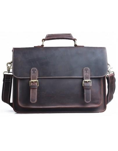 Фотография Коричневый мужской кожаный портфель t71099