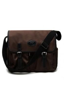 Вместительная коричневая тканевая сумка на плечо 7110622