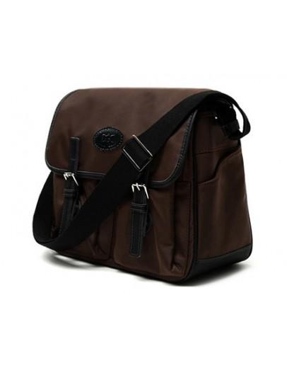 Фотография Вместительная коричневая тканевая сумка на плечо 7110622