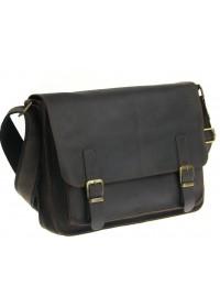 Кожаная коричневая горизонтальная сумка А4 с клапаном 7111-SGE