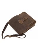 Фотография Коричневая сумка мужская на плечо из конской кожи 71112B