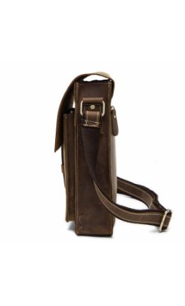Коричневая сумка мужская на плечо из конской кожи 71112B