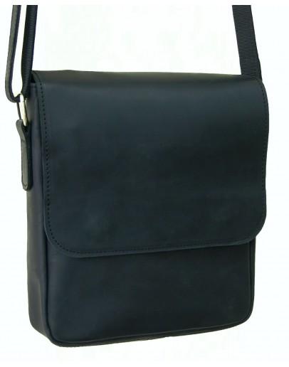Черная кожаная плечевая мужская сумка 71122-SGE