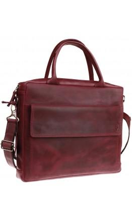Женская кожаная сумка формата А4 бордового цвета 71140W-SKE