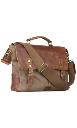 Тканевый мужской портфель с клапаном из кожи 711432