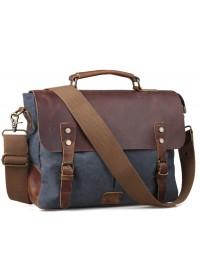 Синий тканевый портфель с кожаным клапаном 711435
