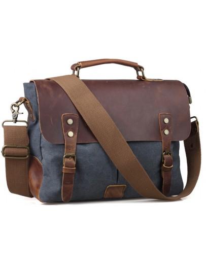 Фотография Синий тканевый портфель с кожаным клапаном 711435