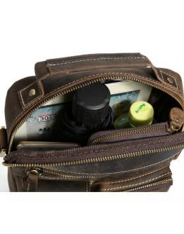 Коричневая кожаная сумка для ношения в руке и на плече 71171
