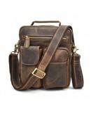 Фотография Коричневая кожаная сумка для ношения в руке и на плече 71171