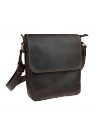 Коричневая плечевая деловая кожаная сумка на плечо 711728-SKE