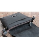 Фотография Чёрный мессенджер кожаный с клапаном 71177a