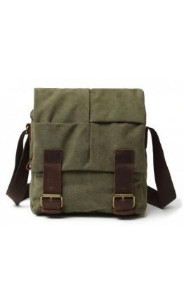Мужская тканевая сумка на плечо цвета хаки 71181Green