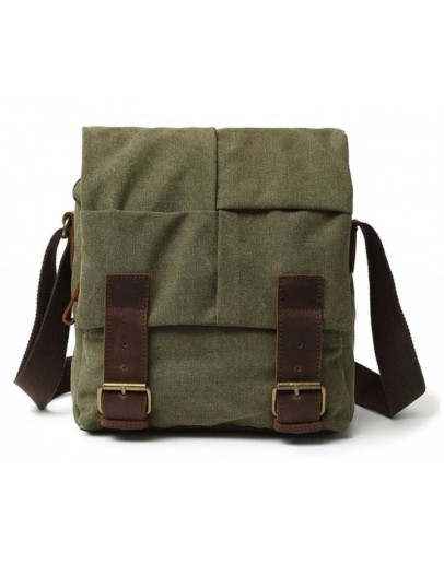 Фотография Мужская тканевая сумка на плечо цвета хаки 71181Green