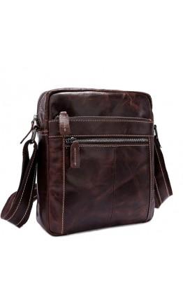 Коричневая кожаная сумка без клапана мужская 71187C