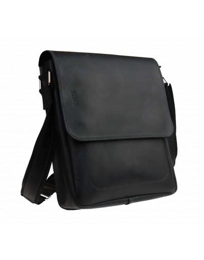 Фотография Кожаная черная мужская деловая сумка на плечо 711938-SKE