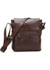 Удобная кожаная сумка на плечо коричневого цвета 77121c