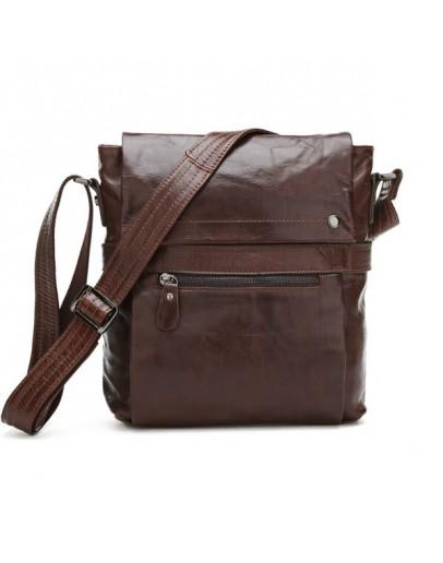 Фотография Удобная кожаная сумка на плечо коричневого цвета 77121c