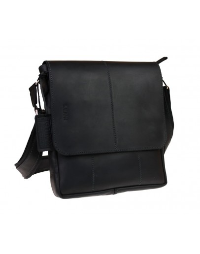 Фотография Мужская черная кожаная плечевая сумка 712140-SKE