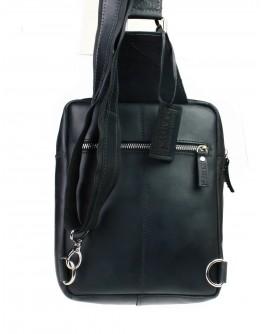 Мужской небольшой черный кожаный слинг 7122991-SKE