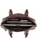 Фотография Стильный качественный коричневый кожаный портфель 77122C