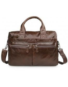 Стильный качественный коричневый кожаный портфель 77122C