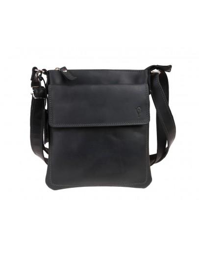 Фотография Кожаная черная сумка-планшетка на плечо 712425-SKE
