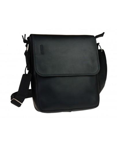 Фотография Мужская сумка черная кожаная на плечо 712828-SKE