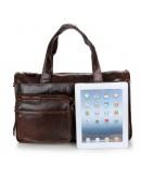 Фотография Мужская удобная вместительная сумка шоколадного цвета 77138C