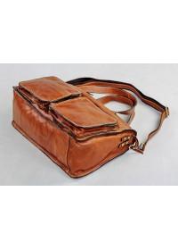 Большая удобная кожаная мужская коричневая сумка 77138