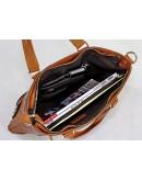 Фотография Большая удобная кожаная мужская коричневая сумка 77138