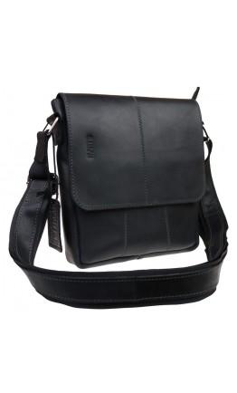 Черная кожаная плечевая сумка - мессенджер 714035-SKE