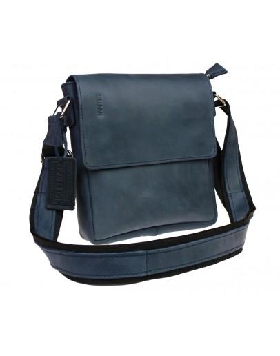 Фотография Мужская кожаная сумка на плечо синего цвета 714335-SKE