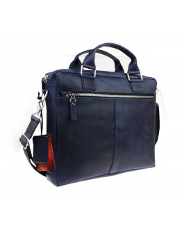 Синяя кожаная деловая сумка формата A4 71440-SKE