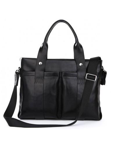 Фотография Модный мужской черный кожаный портфель 77148A