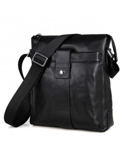Фотография Черная сумка на плечо из мягкой телячьей кожи 77151A