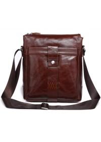 Бордово - коричневая кожаная мужская сумка через плечо 77151C1