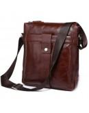 Фотография Бордово - коричневая кожаная мужская сумка через плечо 77151C1