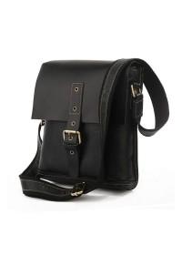 Черная модная кожаная мужская сумка на плечо 77157A
