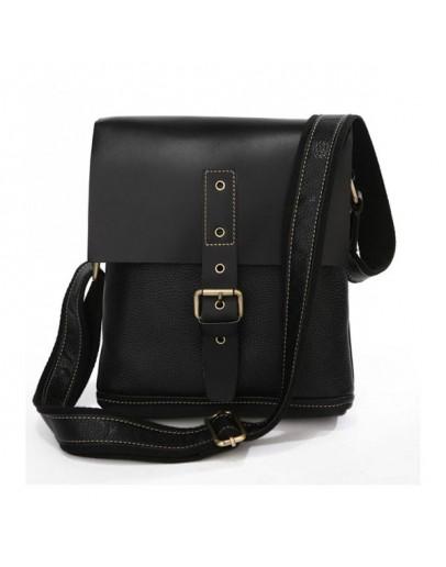 Фотография Черная модная кожаная мужская сумка на плечо 77157A