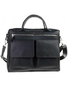 Черная кожаная деловая удобная мужская сумка 71645-SKE