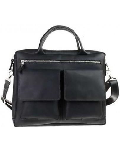 Фотография Черная кожаная деловая удобная мужская сумка 71645-SKE