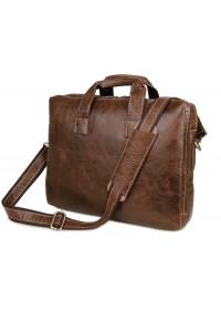 Кожаный мужской портфель коричневого цвета на каждый день 77167C