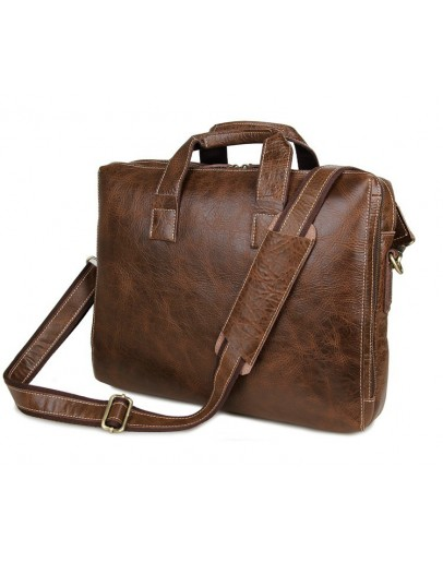 Фотография Кожаный мужской портфель коричневого цвета на каждый день 77167C