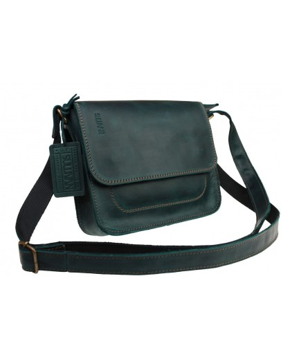 Фотография Маленькая женская кожаная сумка зеленого цвета 71725W-SKE