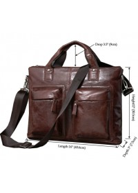 Кожаная коричневая мягкая мужская сумка 77177C