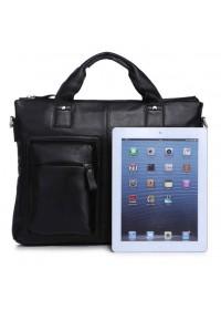 Кожаная черная мягкая мужская сумка 77177A