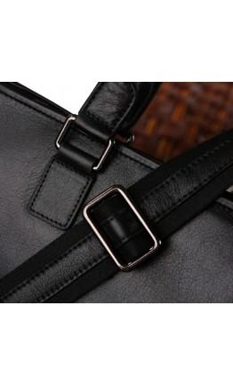 Черная кожаная мужская деловая сумка 77185A