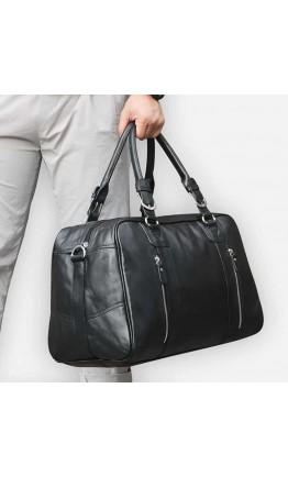 Вместительная кожаная дорожная черная сумка 77190A