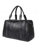 Фотография Вместительная кожаная дорожная черная сумка 77190A
