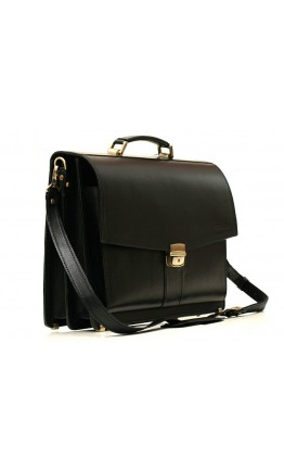 Черный кожаный гладкий портфель Manufatto 720 черный